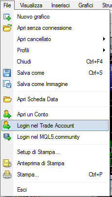 MetaTrader4, login