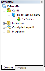 MetaTrader4, finestra navigatore