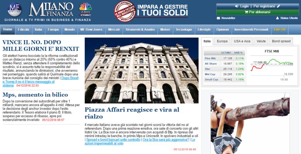La prima pagina di Milano Finanza